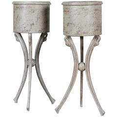 Pair of Antique French Painted Empire Style Jardinieres, circa 1860