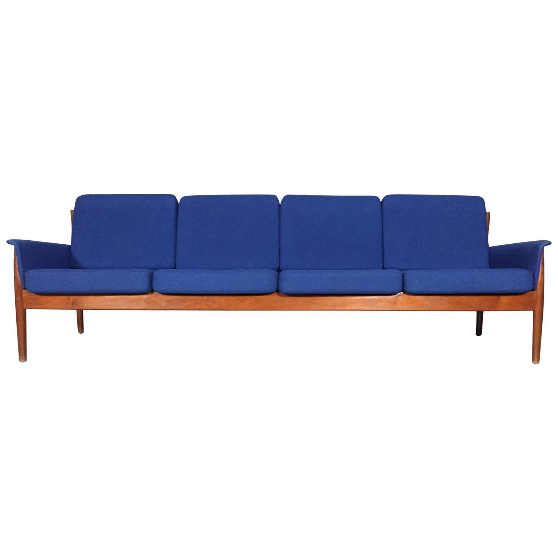 grete jalk four seat sculpted teak sofa denmark 1970s at