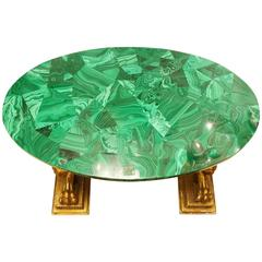 Magnificent Green Malachite Low Coffee Table on a Figural Giltwood Base