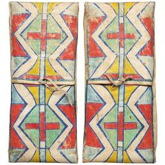 Matched Pair of Antique American Indian Parfleche Envelopes, 19th Century
