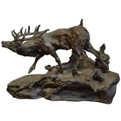 Cast Iron Standing Stag or Deer Sculpture, Signed
