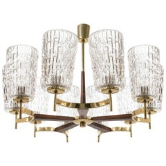 Large Chandelier by Rupert Nikoll, Brass Wood and Glass, Austria, 1960, 1 of 2