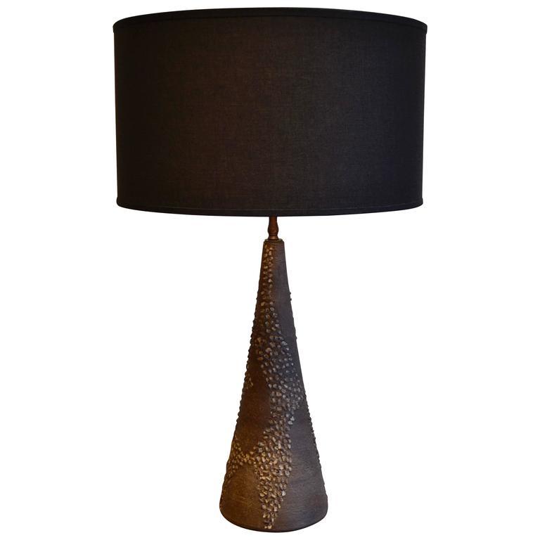 Handmade Ceramic Lamps : Mid century modern handmade ceramic stoneware table lamp
