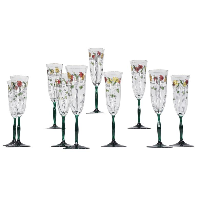 Ten Crystal Arts & Crafts Champagne Flutes with Transparent Enamel Decoration
