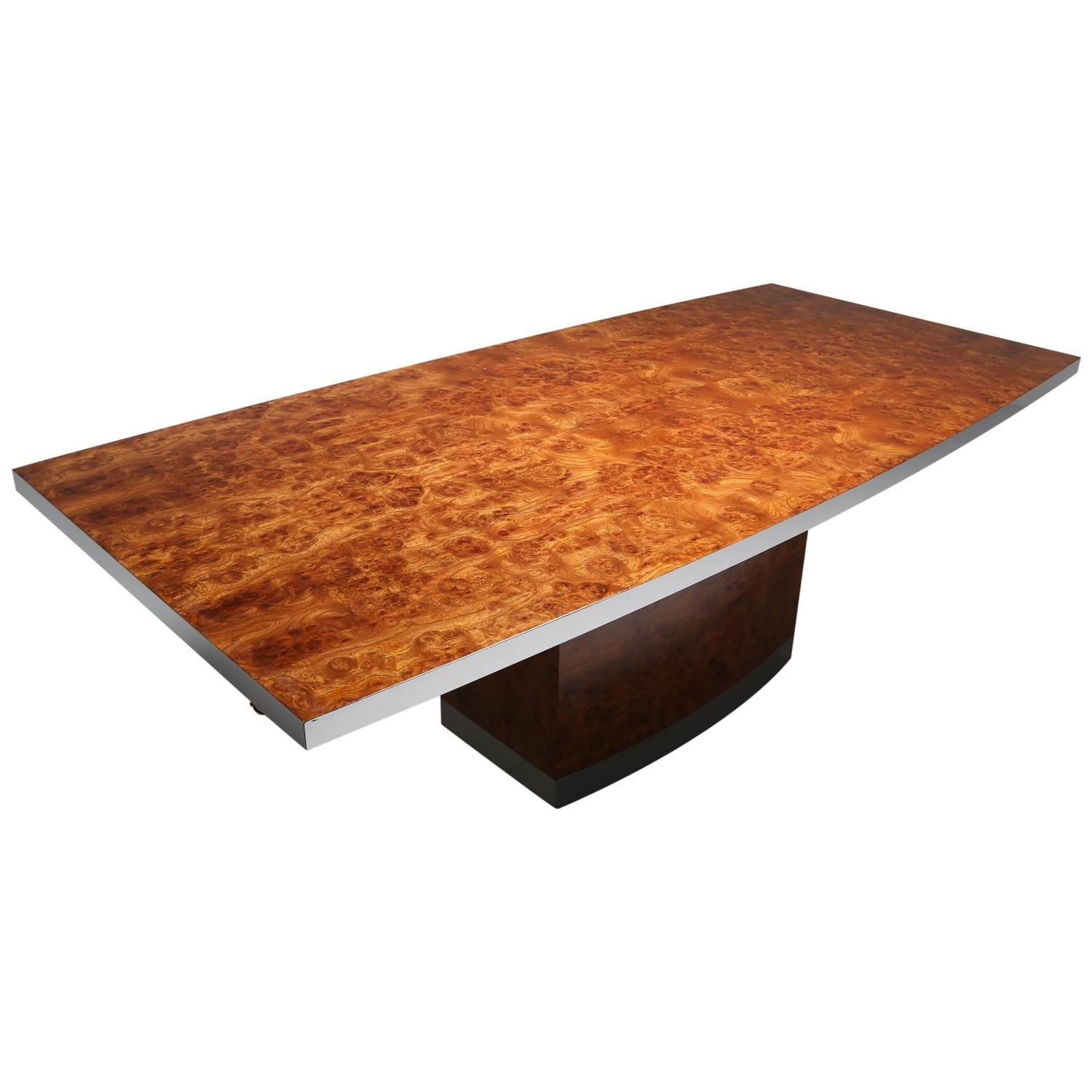 Jean Claude Mahey Maple Burl Dining Table With Chrome Trim At 1stdibs