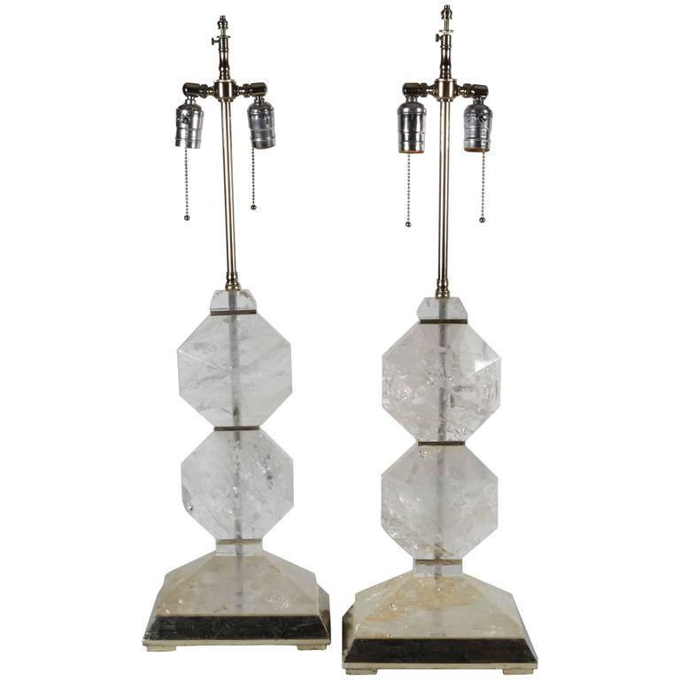 Fine Pair of French Art Deco Style Carved Rock Crystal and Platinum Lamps