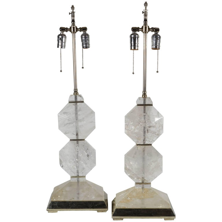 Pair of French Art Deco Style Carved Rock Crystal and Platinum Lamps For Sale