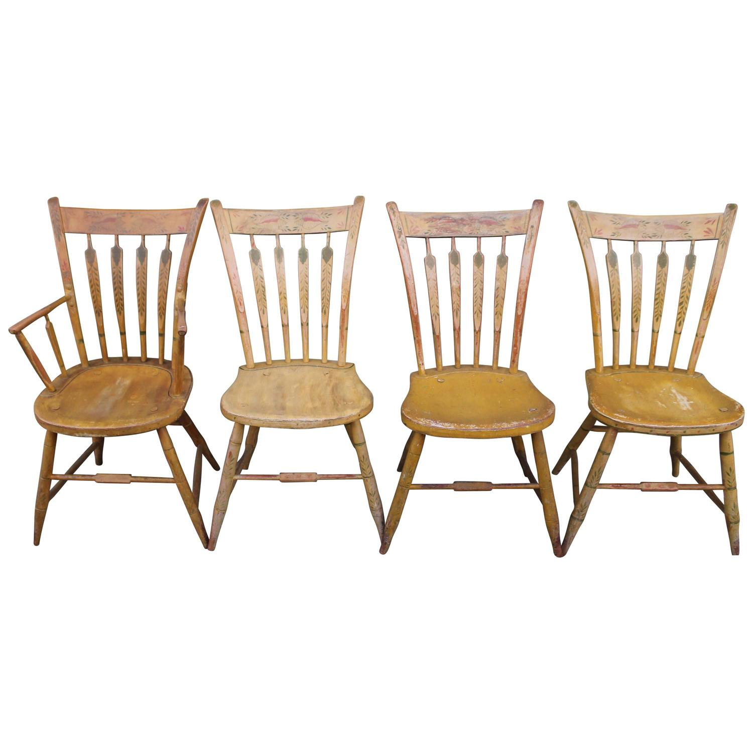 Set Of Four 19th Century Mustard Original Painted Arrow Back Chairs At  1stdibs