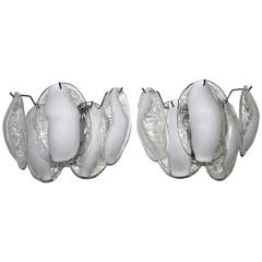 Pair of Murano White and Clear Glass Sconces