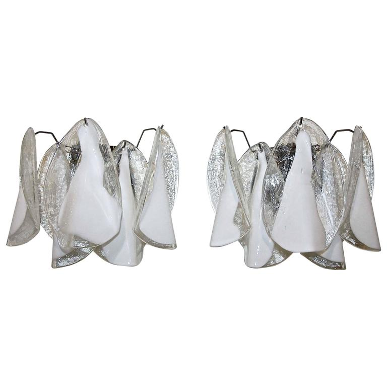 Pair of Murano Mazzega White Petal Shape Glass Sconces For Sale