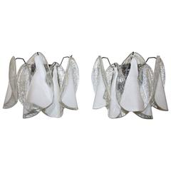 Pair of Murano Mazzega White Petal Shape Glass Sconces