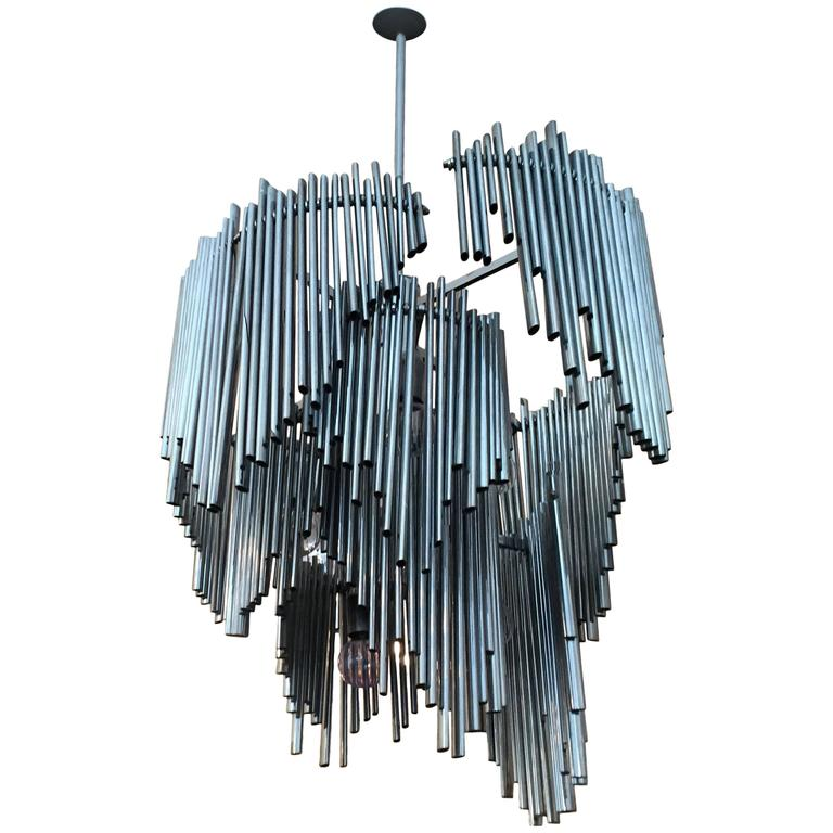 Italian High Style 1970s Sculptural Chandelier For Sale