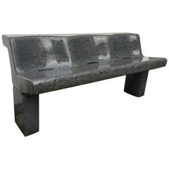 "Friso Kramer Polished Black Terrazzo Prototype ""Bink"" Bench 1993"