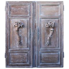 Pair of French Painted Cornucopia Panels