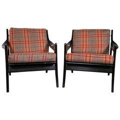 Pair of Danish Mid-Century Modern Ebonized Flannel Upholstered Modern Armchairs