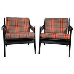 Pair of Danish Mid-Century Modern Ebonized Flannel Upholstered Modern Armchairs