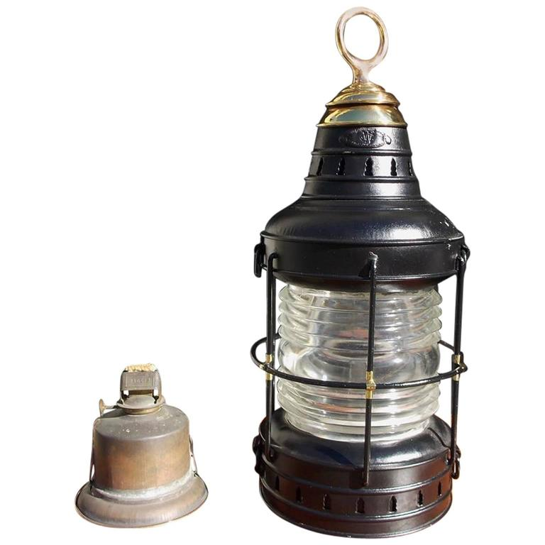 American Polished Steel and Brass Single Anchor Lantern, Circa 1880 For Sale