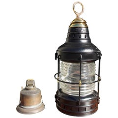American Polished Steel and Brass Single Anchor Lantern, Circa 1880