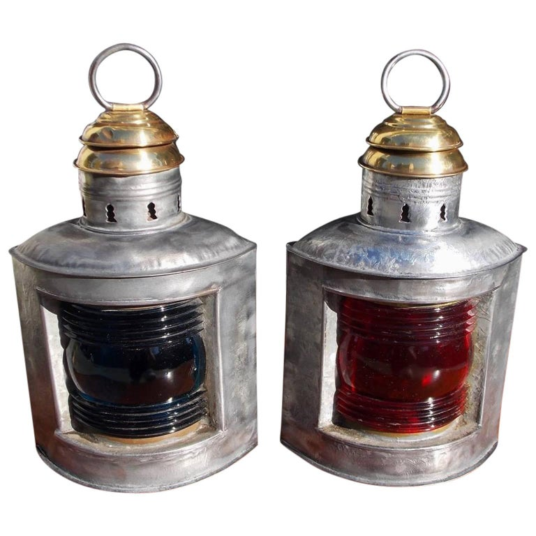 Pair of American Polished Steel and Brass Nautical Ship Lanterns. Circa 1880 For Sale