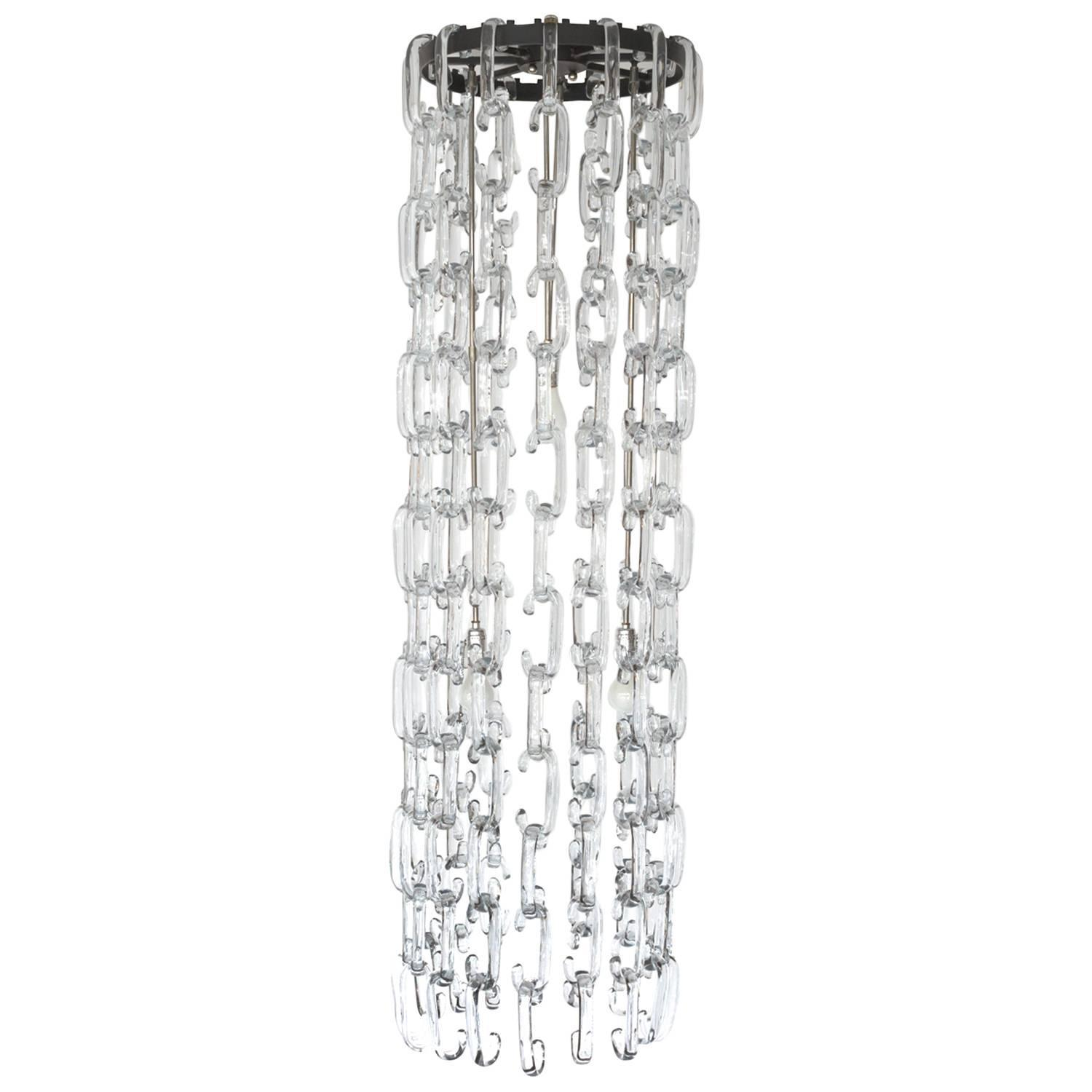 Murano Glass Chain Link Chandelier by Gino Vistosi at 1stdibs
