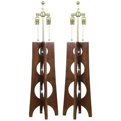 Pair of Studio Made Walnut Lamps with Circle Details