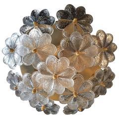 Palme Glass Austrian 1950s Flush Light