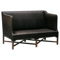 Sofa in Original Black Horsehair with Leather Welts by Kaare Klint