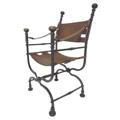 Italian Campaign Chair in Leather, Bronze and Iron, circa 1950s