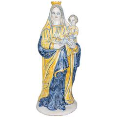 Large Faience Virgin with Child, Nevers, circa 1650
