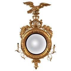 Important Giltwood Convex Girandole Mirror