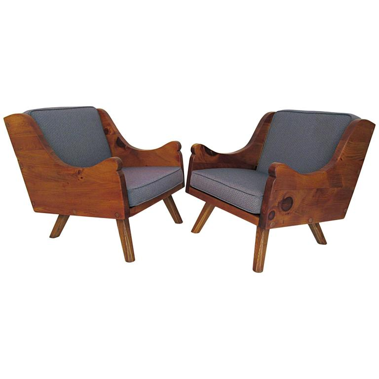 Pair of Rustic Modern Lounge Chairs at 1stdibs