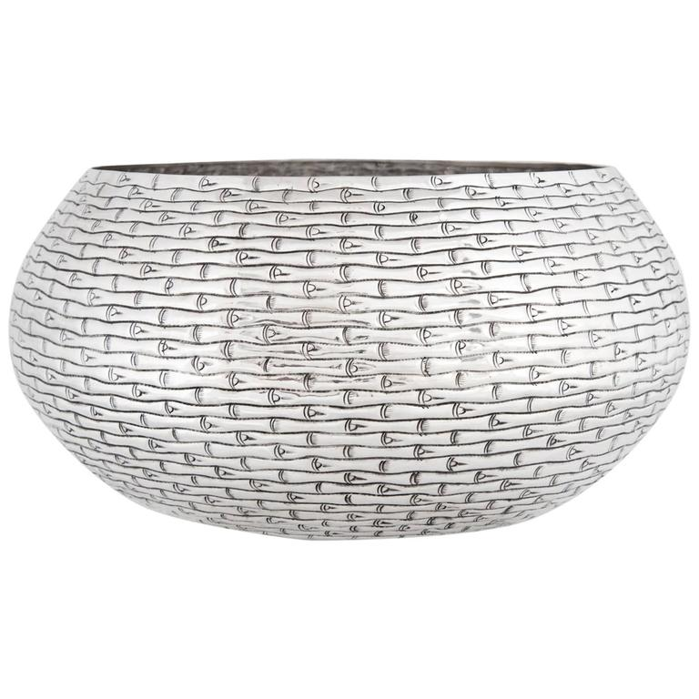Hand-Worked Solid Silver Bowl, Bamboo Motif, Centerpiece For Sale