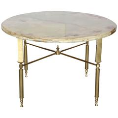 Mid Century Neoclassical Maison Jansen Onyx & Brass Side or Cocktail Table