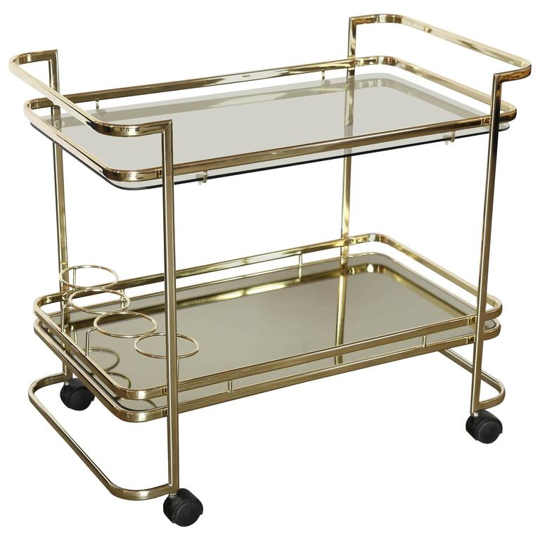 Gold Metal, Glass And Mirror Two Tier Bar, Tea Cart Or Serving Cart