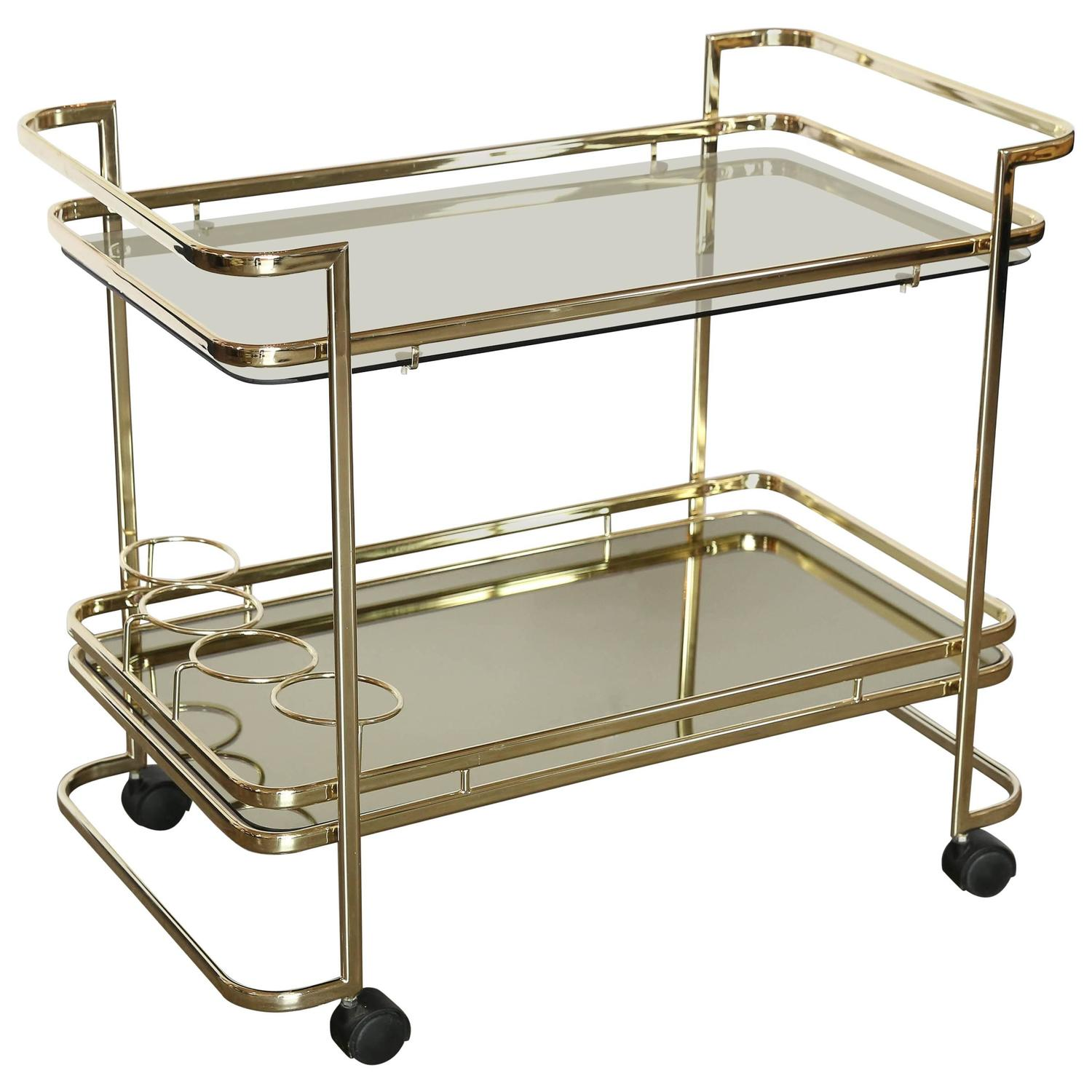Gold Metal Glass and Mirror Two Tier Bar Tea Cart or Serving