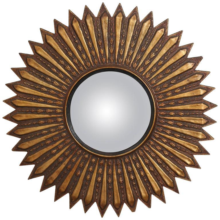 Mid-Century Modern Argentinian Gilded Wood Starburst Convex Mirror