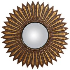 Argentinian Gilded Wood Starburst Convex Mirror
