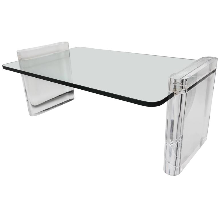 Vintage Lucite and Glass Cocktail Table