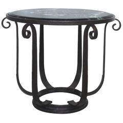 Wrought Iron Center Hall/Side Table with Verde Top