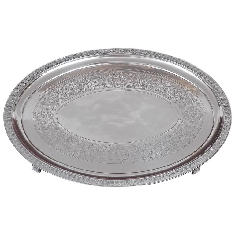 Tiffany and Co, Silver-Soldered Oval Footed Tray, Dated 1957 For Sale