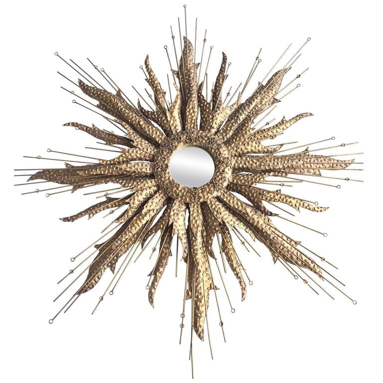 Mid-Century Sunburst Mirror For Sale