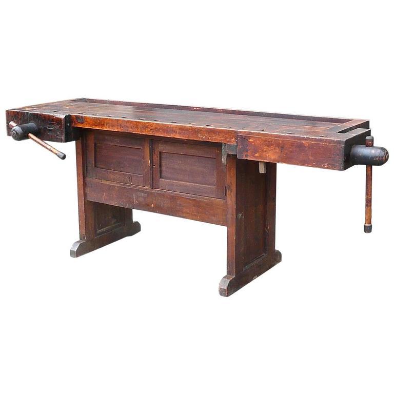 Industrial Cabinet Maker's Workbench Attributed to Hammacher Schlemmer