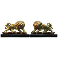 Pair of Gold Gilded Lions Sculpture