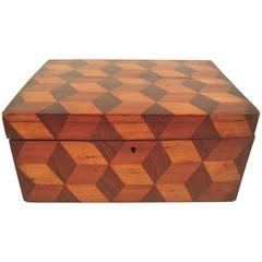 Graphic 19th Century Inlaid Wood Box