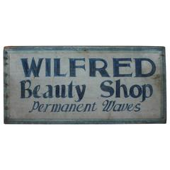 Early Original Blue Painted Beauty Shop Trade Sign