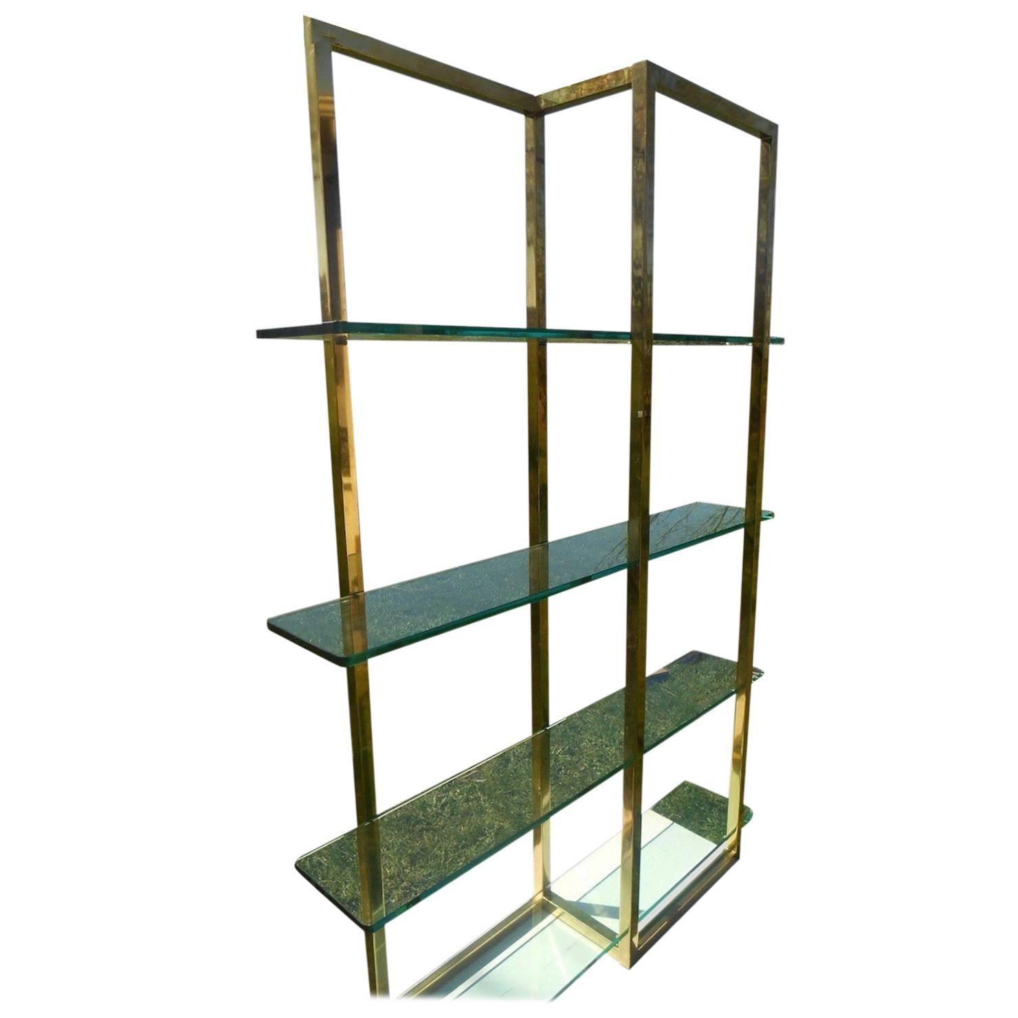 brass and glass etagere in the manner of milo baughman at. Black Bedroom Furniture Sets. Home Design Ideas
