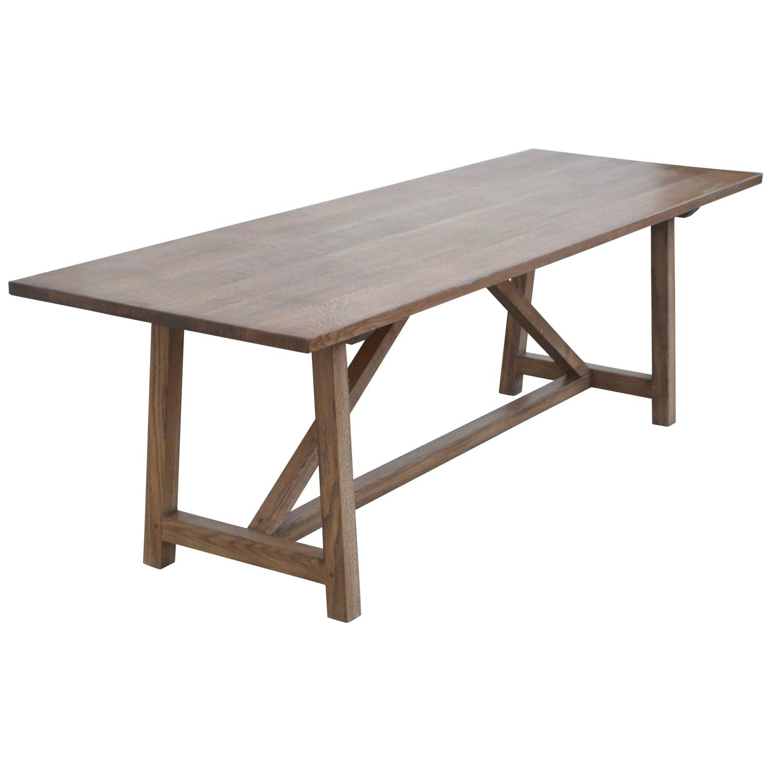 Custom dining table in rift white oak built to order by petersen antiques