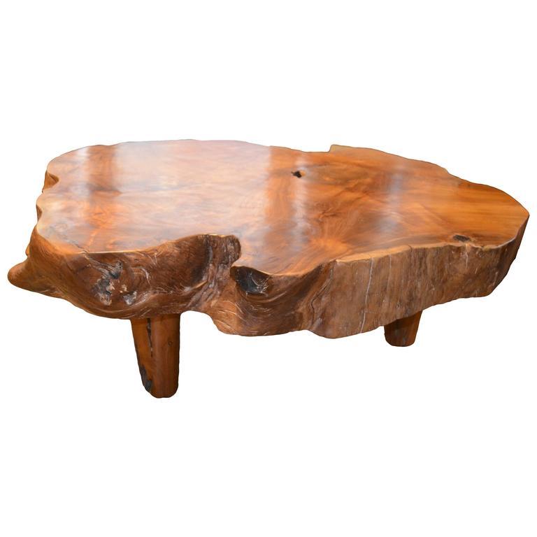 Rustic Vintage Tree Slab Coffee Table For Sale At Stdibs: Single Slab Top Coffee Table At 1stdibs