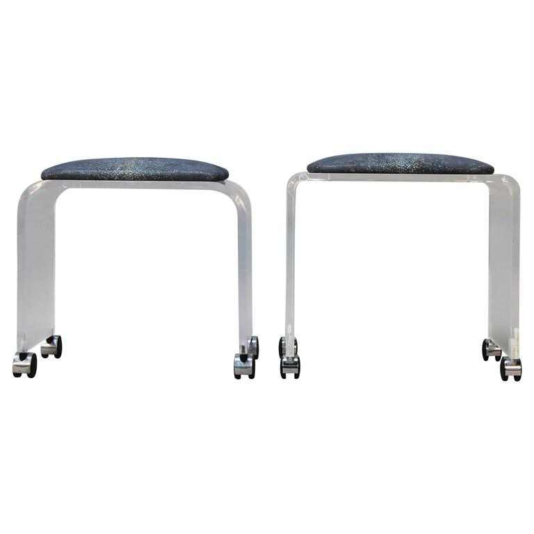 Assembled Pair of Lucite Stools