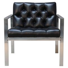 Flat Bar Chair with Button Tufted Leather